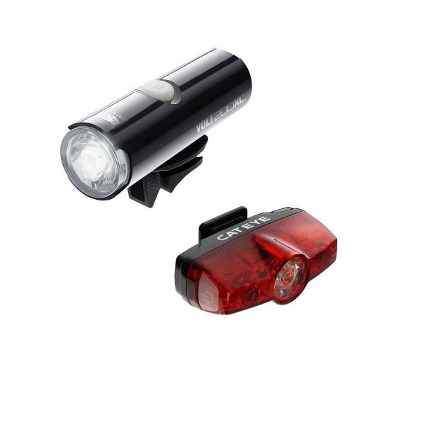Cat Eye Volt 200 XC Juego de luces y reflectores para ciclismo–negro