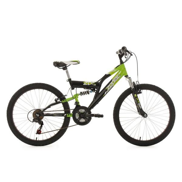 KS Cycling Niños Bicicleta mountainbike Fully Zodiac RH 38cm , color verde y negro, 24, 605K