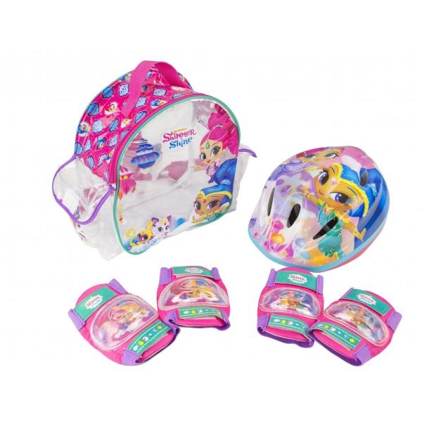 Shimmer And Shine Set con mochila, casco y protecciones  Saica 2677