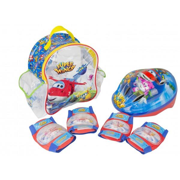 Super Wings - Set con mochila, casco y protecciones  Amijoc Toys 650