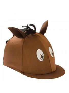 William Hunter Equestrian Forro para casco de equitación infantil  licra , diseño de cabeza de caballo marrón marrón