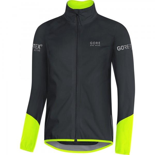 Gore Bike Wear, Chaqueta para Ciclismo en Carretera, Hombre, Tex Active, Power Jacket, Talla XL, Negro/Amarillo neón, JGTPOW
