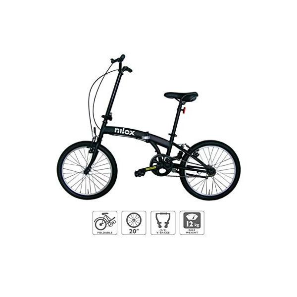 "Nilox Micro Bike 20P-X0 Bicicleta  Plegado, Completo, Acero, 50,8 cm  20"" , Cadena , Unisex Adulto, Negro"