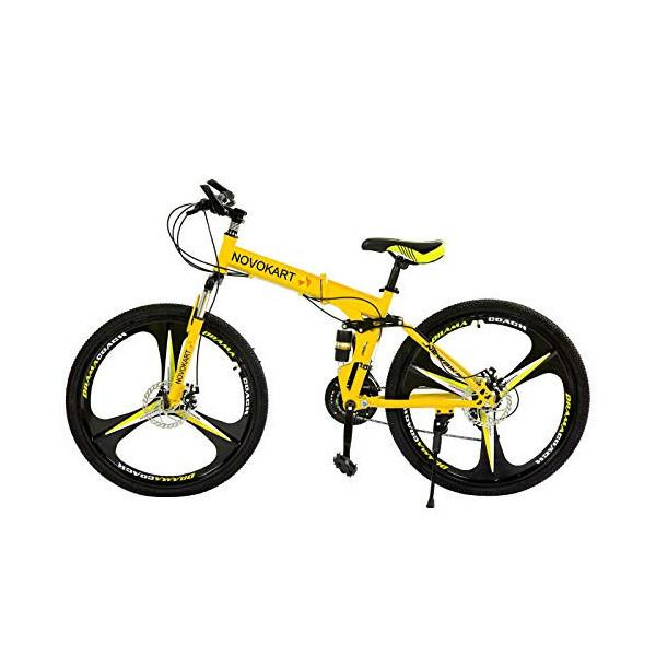 Novokart - Bicicleta Plegable Unisex para Adulto, Color Amarillo, 21 Stage Shift