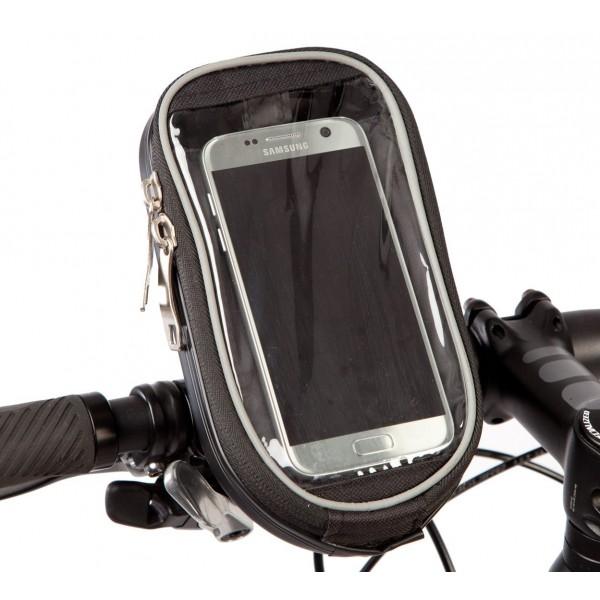 BTR Carcasa rígida para manillar - Bolsa para bicicleta y soporte para teléfono–Pantalla de PVC transparente–resistente a