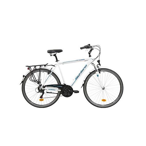 F.lli Schiano Voyager Bicicleta Trekking, Mens, Blanco-Azul, 28