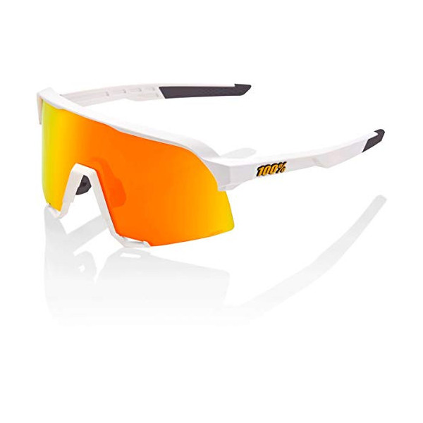 100 Percent S3-White-Hiper Mirror Lens Gafas, Hombres, Blanco-Cristal Red Multilayer, Mediano