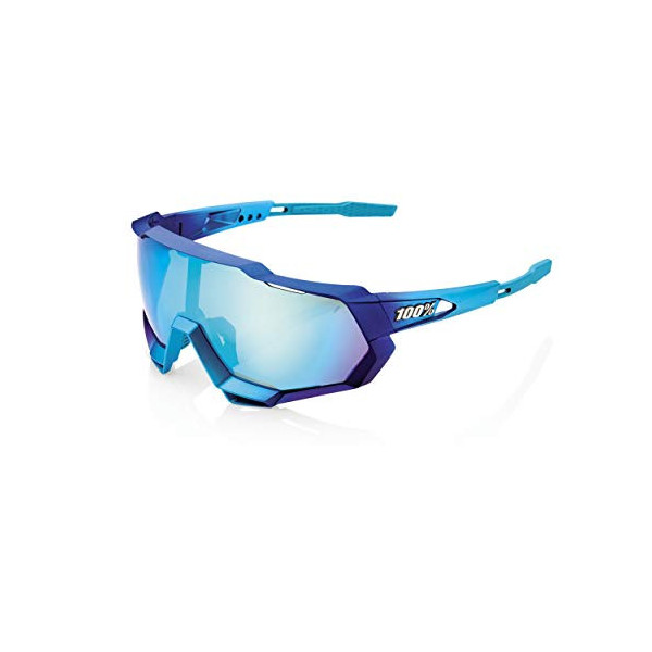 100% GAFAS SPEEDTRAP-Matte Metallic Into The Fade-Blue Topaz Multilayer Mirror Lens, Adultos Unisex, Azul, Estandar