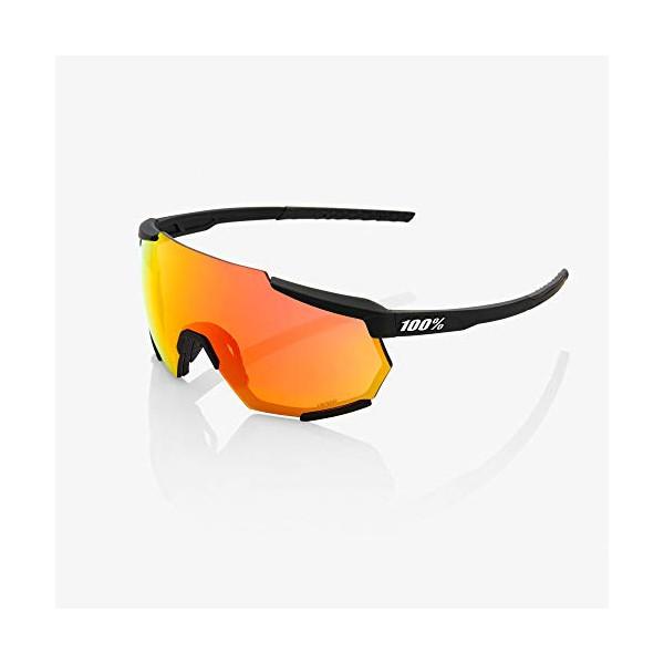 100 Percent RACETRAP-Soft TACT Black-Hiper Mirror Lens Gafas, Hombres, Negras-Cristal Red Multilayer, Mediano