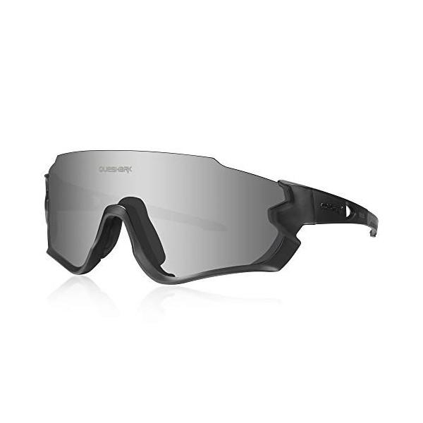 Queshark Gafas de Ciclismo para Hombre Mujer Bicicleta de Carretera 1 Lente Polarizada 3 HD UV400 Lente QE45  Negro
