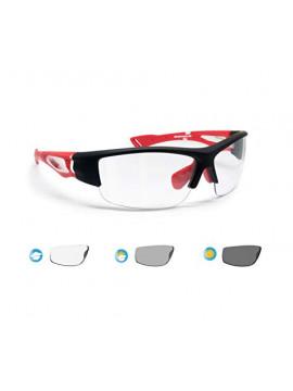 BERTONI Gafas de Sol Deportivas Fotocromaticas para Hombre Mujer Deporte Ciclismo Running Esqui MTB – Mod. 1001  Negro/Rojo -