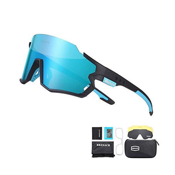 BRZSACR Gafas de Sol Deportivas,CrazyFire UV 400 Protección Gafas Deportivas Polarizadas con 3 Set De Lentes Intercambiables
