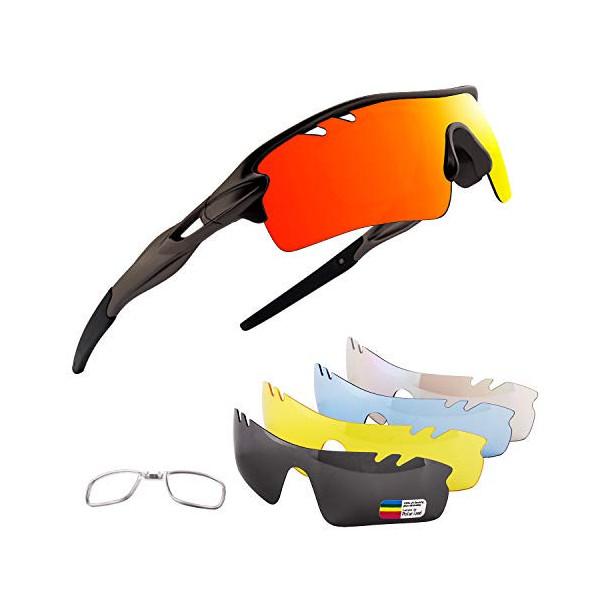 OULIQI Gafas De Sol Polarizadas para Ciclismo con 5 Lentes Intercambiables UV400 Y Montura De, Gafas para MTB Bicicleta Monta