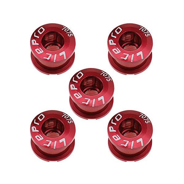 Create idea - Juego de 5 tornillos para bicicleta de carretera M8, color rojo