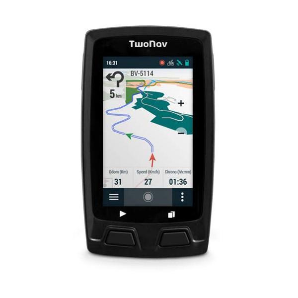 TwoNav - Velo Mountain GPS para Ciclismo de Montaña con Pantalla de 3, Compacto Ligero y Resistente, Color Gris + Soporte Pot