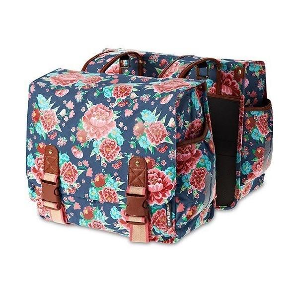 Basil Bloom Double - Bolsa para mujer, color azul estampado/rojo/rosa/verde