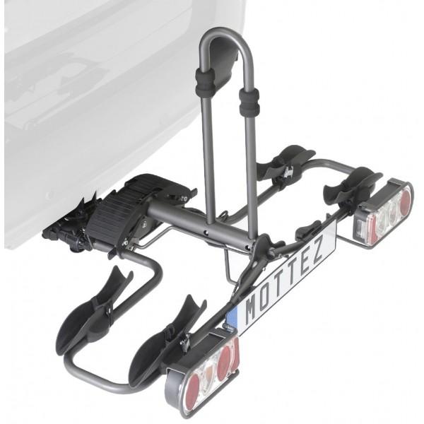 Mottez Plataforma portabicicletas plegable  2 bicicletas , color gris