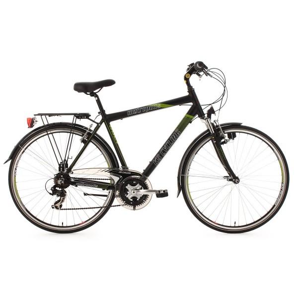 """KS Cycling Metropolis - Bicicleta de trekking, color negro/verde, ruedas 28"""""""