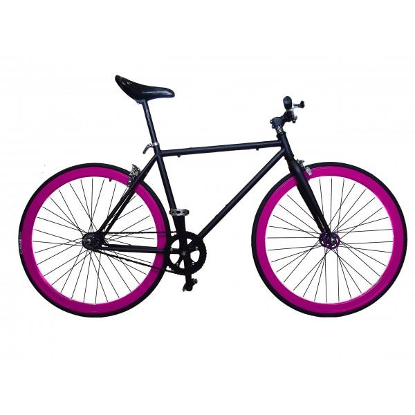 """Fixie Helliot Tribeca H21 - Bicicleta fixie, cuadro de acero, frenos V-Brake, horquilla acero y ruedas de 26"""", color negro y"""