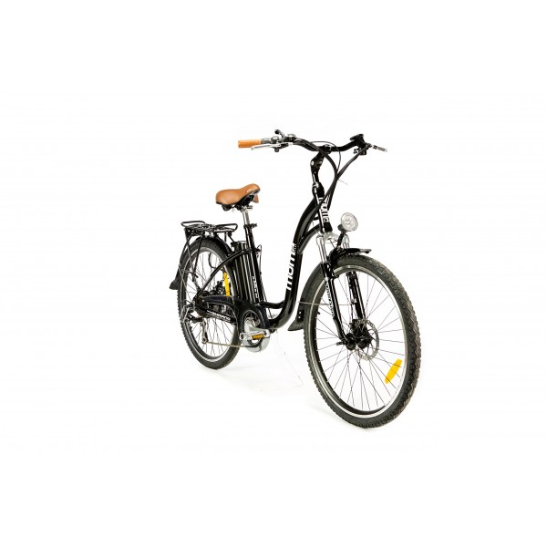 Moma Bikes Bicicleta Electrica, Urbana EBIKE-26, Alu. SHIMANO 7V & Doble Freno Disco Bat. Ion Litio 36V 16Ah