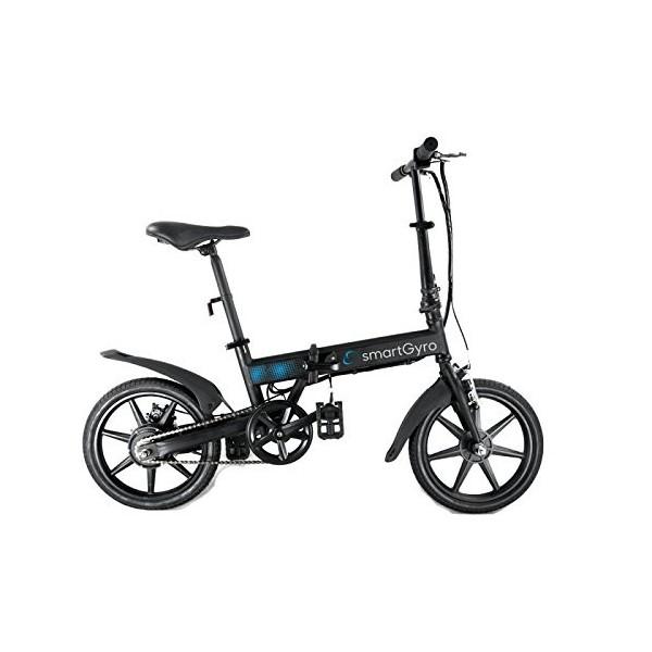 """SmartGyro Ebike Black - Bicicleta Eléctrica Plegable con asistente al pedaleo, ruedas de 16"""",Batería de litio de 4400-36v, co"""