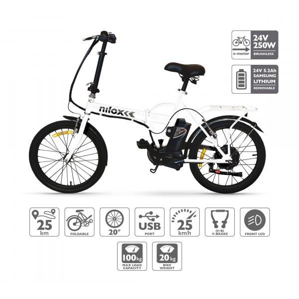 Nilox Bike 24 V 14 P-X1 Bicicleta Eléctrica, Unisex Adulto, Blanco, 53 x 148 x 103