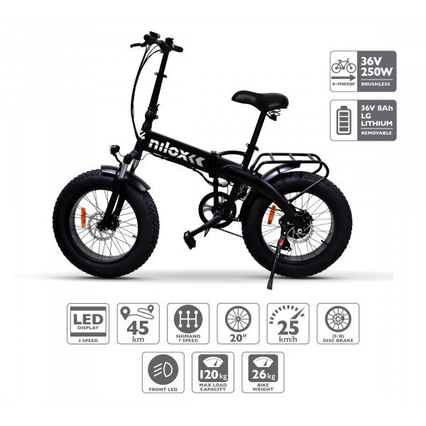 Nilox 30NXEB207V001 Bicicleta, Unisex Adulto, Negro, Talla Única