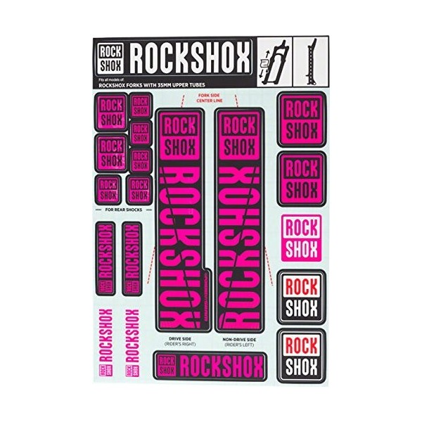 RockShox Pegatinas de 35mm Pike/Lyrik/Yari/Domain/Revelation, 11.4318.003.512piezas de repuesto, magenta, Estándar